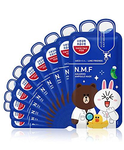 MEDIHEAL Line Friends N.M.F Aquaring Ampoule Mask Pack of 10