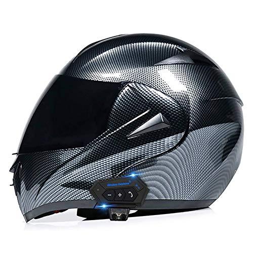 DLPAC Casco Bluetooth per Moto, Casco Integrale Modulare con Visiera Parasole Integrale, Casco...