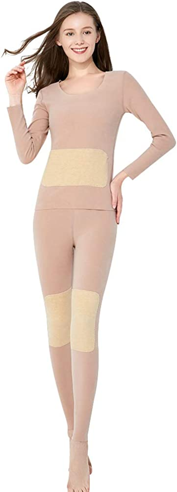 amropi Women's Thermal Underwear Set Double Pads Fleece Lined Base Layer Long Johns