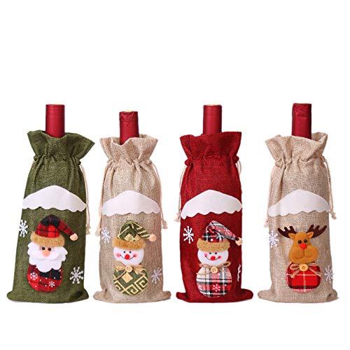 CHANG 4 Piezas Bolsas para Regalo de Vino de Navidad, Bolsa de Botella de Vino con Cordón para Navidad Fiesta Regalo Decoración