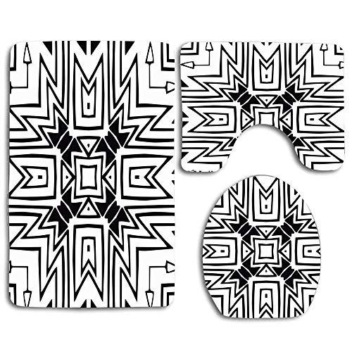 Resumen Perú Azteca Monocromo Indio Negro Gráfico Borde Creativo Retro Vintage 3 piezas Juego de alfombras de baño antideslizantes Alfombra de contorno en forma de U, tapete y tapa de inodoro Nuevo