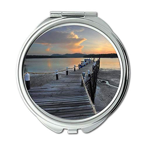 Yanteng Spiegel, kompakter Spiegel, Strandpromenade Boot, Taschenspiegel, tragbarer Spiegel