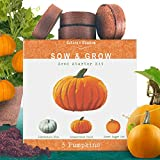 Nature's Blossom Pumpkin Kit. Grow 3 Types of Pumpkins from Seed. Complete Beginners Gardening Starter Set with Pumpkin Seeds, Pots, Soil, Markers, and Guide. Halloween Garden Set