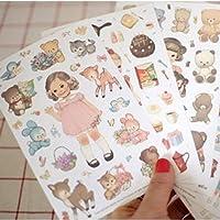 6枚/パック新しいDIYスクラップブック紙かわいいカーリードール日記ステッカー装飾ステッカー紙H0190