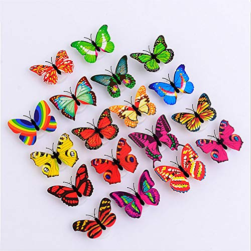 Creative Colorful 3D Butterfly Night Light can be Pasted with LED,Wall Sticker Night Light Luminous Wall Sticker Home Decoration Sticker Home Party Table Wall Decoration.