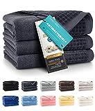 ZWOLTEX Himmlisch weiche Handtücher aus 100% Ägyptischer Baumwolle I Made IN EU I Gästehandtücher Ultra-Soft Duschtuch Badetuch - 3er Handtuch Set Graphit