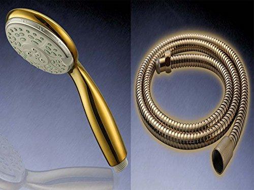 Set Duschkopf mit flexiblen Duschschlauch 1,5m Gold Handbrause Schlauch Brausekopf Brauseschlauch Duschbrause