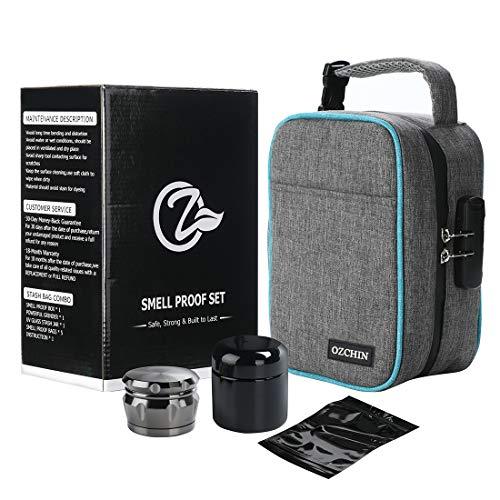 Large Smell Proof Bags Odor Proof Stash Storage Case Stash Box Set Herb Grinder UV Glass Stash Jar