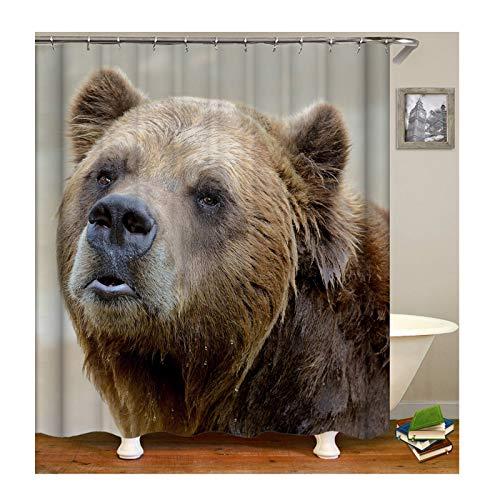 KnSam Anti-Schimmel Wasserdicht Duschvorhang Inkl. 12 Duschvorhangringen Bär Vorhänge An Badewanne Bad Vorhang für Badezimmer 180 X 200 cm