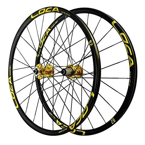 Rueda para Bicicletas 26/27.5 Pulgadas,Aleación de Aluminio 24H Llanta MTB de Doble Pared 8/9/10/11/12 Velocidad Frenos de Disco Rueda Trasera para Bicicleta (Color : Yellow hub, Size : 26inch)