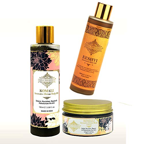 Royal Indulgence Beauty Combo Pack of Komali Intensive Body Oil and Ubtan and Keshvi Intensive Hair Oil