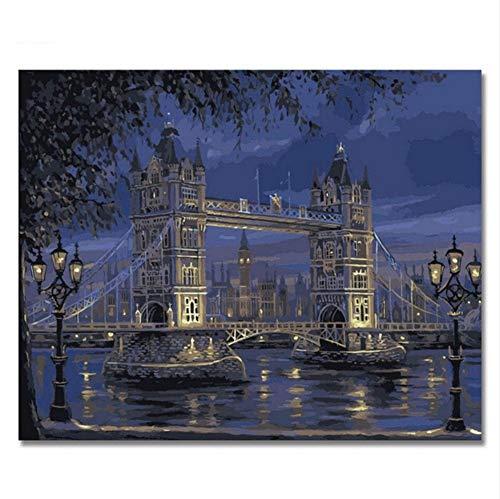 Vanzelu London Bridge Pictures By Nummers, schildersolie, handbeschilderd, voor de salon, welke kleuren van de geschenken van het materiaal 40x60cm Geen frame.