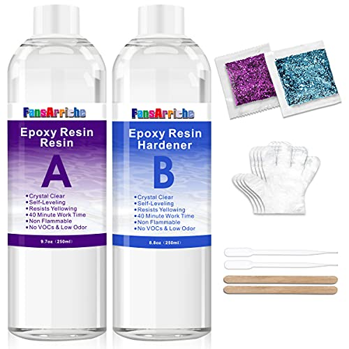 FansArriche 18.5OZ Epoxy Resin Crystal Clear for Art, Jewelry, Crafts & Jewelry Making, 2 Part Epoxy Casting Resin, Non-Toxic Resin Epoxy with 2 Droppers, 2 Sticks, 2 Pair Gloves and 2 Pack Glitters