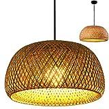 Lámpara Colgante Tejida De Bambú Vintage Lámpara Colgante Tejida A Mano Lámpara De Techo Iluminación De Pasillo Rural Lámpara Colgante E27 Ajustable En Altura Luz Decorativa Bambú Natural,38cm