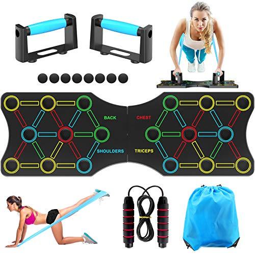 TAKRINK Push up Board 19 in 1 Attrezzature Multifunzione per l Home Workout Fitness Telaio Portatile per l allenamento Push-up con Fascia di Resistenza, Impugnature Push-up e Salti di Corda