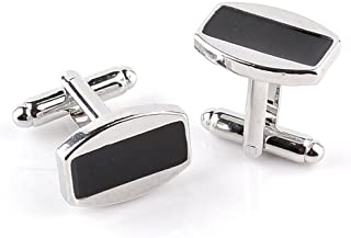Bullidea 1 Pair Fashion Stainless Steel Rectangle Cufflinks Cuff Links Mens Dress Business Wedding Cufflinks Gift Present