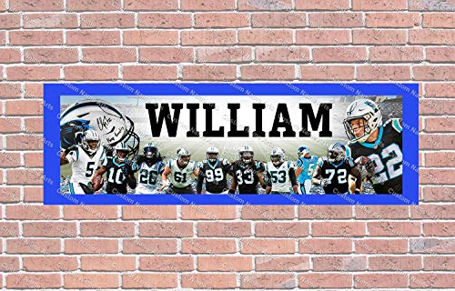 Personalized Carolina Panthers 2020 Roster Banner - Includes Color Border Mat, With Your Name On It, Party Door Poster, Room Art Decoration - Customize