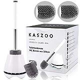 Escobilla de baño KASZOO, con cepillo de repuesto, escobilla de baño y recipiente, escobillas de baño para baños con juego de soportes de secado rápido, alta calidad