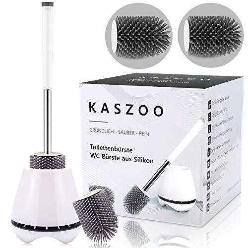 KASZOO Toilettenbürste, mit Ersatzbürste, WC-Bürste und Behälter,Toilettenbürsten für Badezimmer mit Schnell Trocknendem Haltersatz, Hochwertige