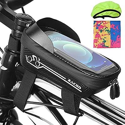 Zacro Fahrrad Rahmentasche, Handyhalterung Fahrrad Wasserdicht, Lenkertasche Fahrrad mit TPU Touchscreen und Sonnenblende, Mountainbike Zubehör für Smartphones unter 6.5 Zoll
