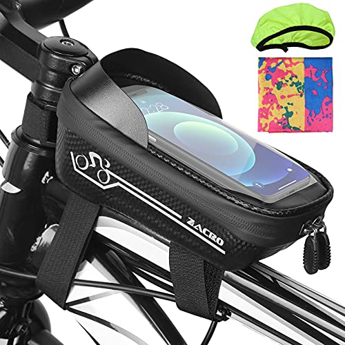 Zacro Bolsa para cuadro de bicicleta, soporte teléfono móvil, resistente al agua, bolsa manillar bicicleta con pantalla táctil TPU y parasol, accesorios smartphones menos 6,5 pulgadas