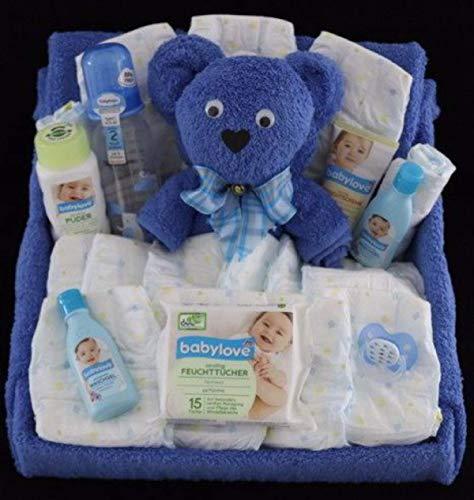 Windel Geschenk als Windeltorte, gestaltet als Windelbett in blau für Jungen - zur Geburt, Taufe, Gastgeschenk, Mitbringsel