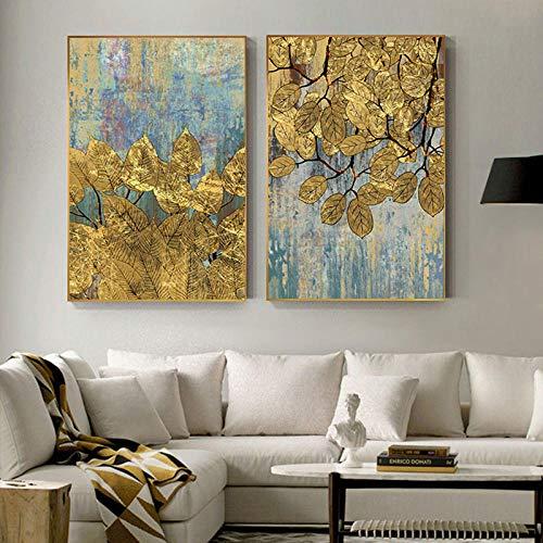 LLXXD Póster de Pintura de Hoja Dorada Abstracta, Arte de Pared Gris para Sala de Estar, Pasillo de Entrada, tríptico de salón dorado-50x70cmx2 (sin Marco)