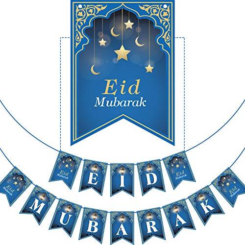 No DIY Required Muslim Ramadan Party Supplies Decorations, Blue Eid Celebration Decoration for Muslim (Eid Mubarak)