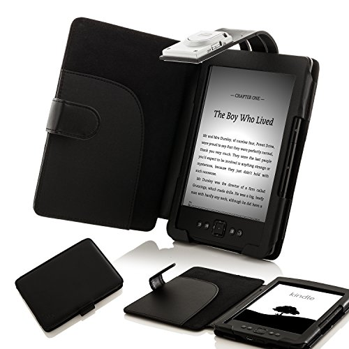 Forefront Cases Cover for Amazon Kindle (4th & 5th Generation - 2012 Model) Case Cover with detachable LED Reading Light - Extra Padded Rugged & Full Device Protection - Black