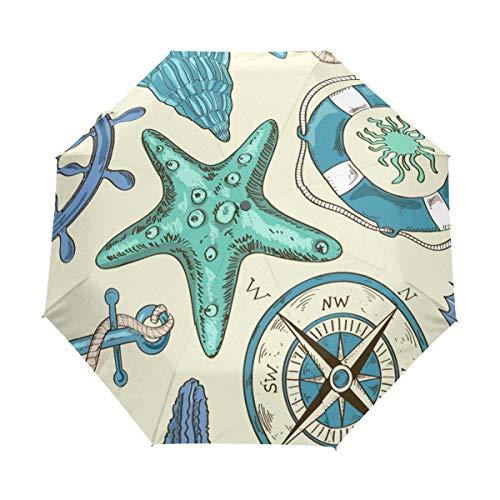 Schiffskompass Art Regenschirm Taschenschirm Auf-Zu Automatik Schirme Winddicht Leicht Kompakt UV-Schutz Reise Schirm für Jungen Mädchen Strand Frauen