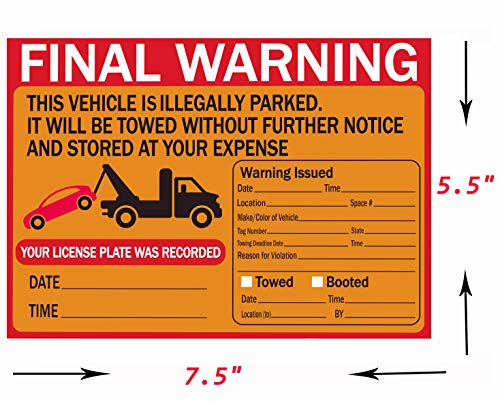 Parking Violation Stickers Tow Stickers for Car Vehicle 50 pcs Private Parking Warning Stickers Adhesive Car Window Fluorescent Labels 5.5X7.5 inch (Fluorescent Orange) Photo #3