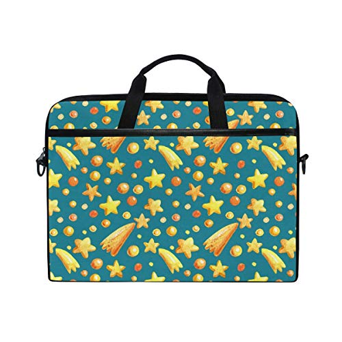 Laptop Sleeve Case,Laptop Bag,Yellow Stars Pattern Water Briefcase Messenger Notebook Computer Bag with Shoulder Strap Handle,29×40 CM/15.6 Inch
