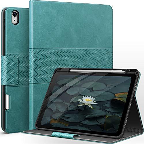 AUAUA Hülle für iPad Air 4. Generation 10.9 Zoll 2020 mit Apple Stifthalter Auto Schlaf/Aufwach Funktion PU Leder Cover (Grün)