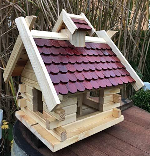 DARLUX Rechteckiges Vogel Futter Haus Futterstelle aus Holz Vogelhaus Natur/Braun