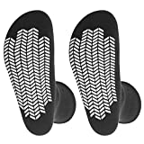2 Pairs Diabetic Socks Unisex - Men's and Women Non Skid Hospital Loose Fitting Design, Physician Approved Slipper Socks with Gripper Bottoms Gripper Socks (Black - Skid 3, 10-13)