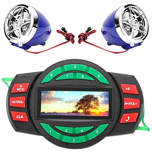 EVTSCAN Sistemas de altavoces para motocicleta, LCD impermeable, reproductor de música MP3 para motocicleta, altavoz de radio BT FM con carga de teléfono
