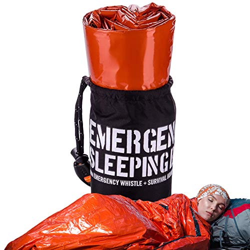 Emergency Sleeping Bag – Reflective Bivy Sack – Mylar Thermal Survival Bag – Includes Whistle, Compass and Survival Hook - Pack of 1