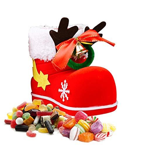 クリスマスキャンディーバッグ、クリスマスアントラーベルフロッキングブーツプレゼントバスケット、クリス...
