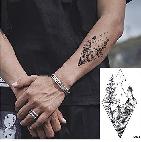 yyyDL etiqueta engomada colorida del tatuaje Moda Diamante Impermeable Árbol Pico Faro Tatuajes Pegatinas Mujeres Arte Tatto Temporal Hombres Brazo Personalizado Tatuaje Falso 10 * 6 cm 8 unids