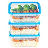 Xenix Ultra Seal Plastic Food Storage Container 3 Pack: Set Includes 3 x Medium 1.2L Bento Box Storers with Airtight Leakproof Klip Lock Lids