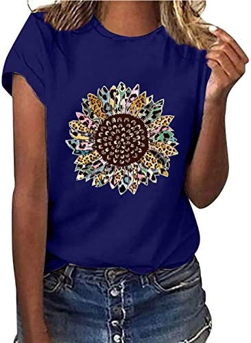 Womens Basic T Shirt Short Sleeve Sunflower Printed Graphic Tees Casual Summer Crewneck Tops product image