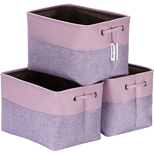 Sea Team 3-Pack Large Storage Basket Set, Trunk Organizer, Clothes Toys Bin, 15 x 10 x 10 Inches, Big Rectangular Canvas Fabric Collapsible Shelf Box with Handles for Kids Room (Lavender/Orchid)