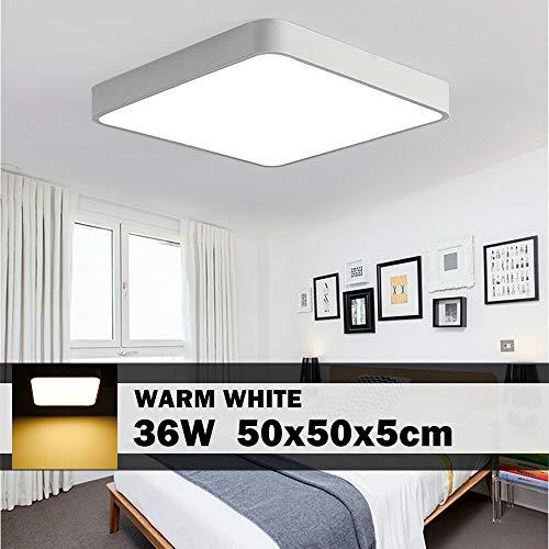 LED Deckenleuchte, 36W 3600LM Led Flurlampe, LED Deckenlampe, 3000K Quadrat Modern Schlafzimmer Küche Wohnzimmer Lampe für Balkon Flur Küche Wohnzimmer IP20[Energieklasse A+] (Warmweiß, 36W-50x50cm)