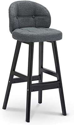 Amazon Com Counter Height Bar Stools Wooden With Backs Modern Linen Seat Cushion Bar Chairs For Kitchen Counter Stools Dining Chairs Islands Tall Barstools 4 Colors 65cm 75cm Color Gray Furniture Decor
