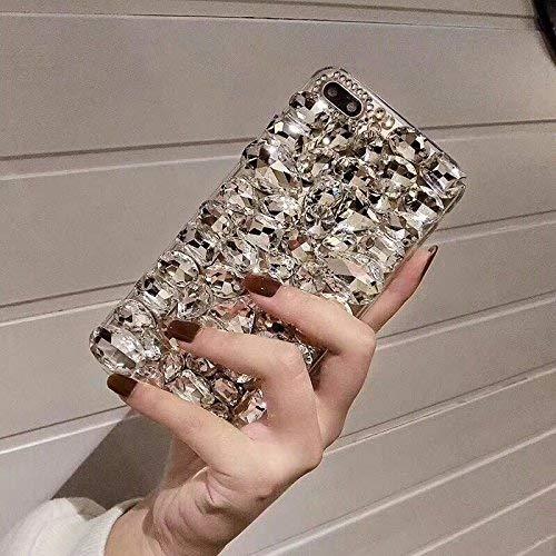 Shinyzone Coque pour Huawei P Smart Bling,Luxe 3D Fait à La Main Coque Bling Brillante Diamant Cristal Strass Gemme Transparente de Pare-Chocs Souple Silicone TPU,White