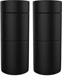 Herb Stash Jar | 2 Solid Aluminum Airtight Smell Proof Containers #1 Best Way To Preserve Herbs Tobacco & Spices (Black Perfect 2 Pack)