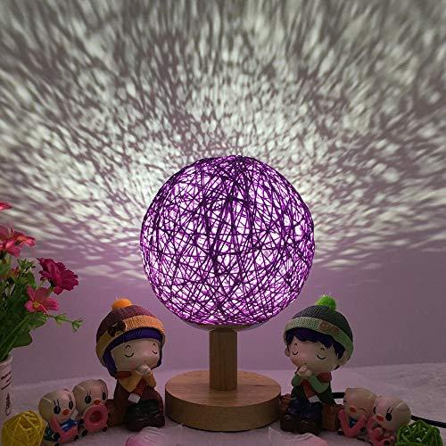Nachtlicht-Geburtstagsgeschenk INS des romantischen Sternprojektors des Bettes kreatives, das Schnurball-Rattanball-Tischlampe 15CM verdunkelt