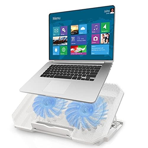 Tendak 12-16 Pulgadas Gaming Laptop Cooler Cooling Pad, 2 Ventiladores silenciosos, 5 ajustes de Altura, 2 Puertos USB ,Panel metálico (Blanco)
