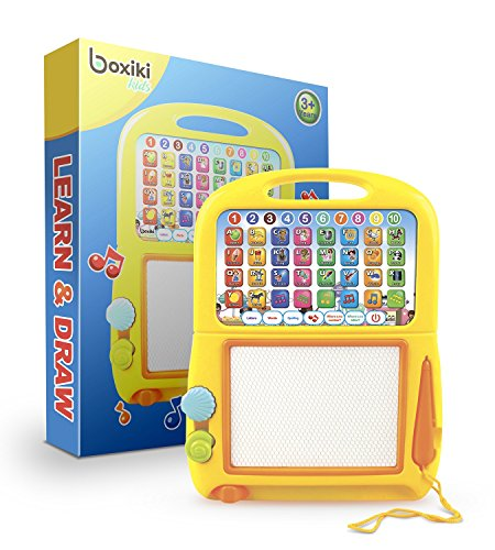 Boxiki kids Learning Tablet  Magnetic Drawing Pad Toddler Musical Toy w/ Kids#039 Learning Games Educational Toy for Child Development Learn Numbers ABC Learning Spelling Games Musical Tunes