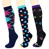 Matchwill Rodilla Alta Calcetines y Medias de Compresión unisex 20-30 mmHg, S/M (EU Mujer 33-42.5,Hombre 33-41.5), surtidos